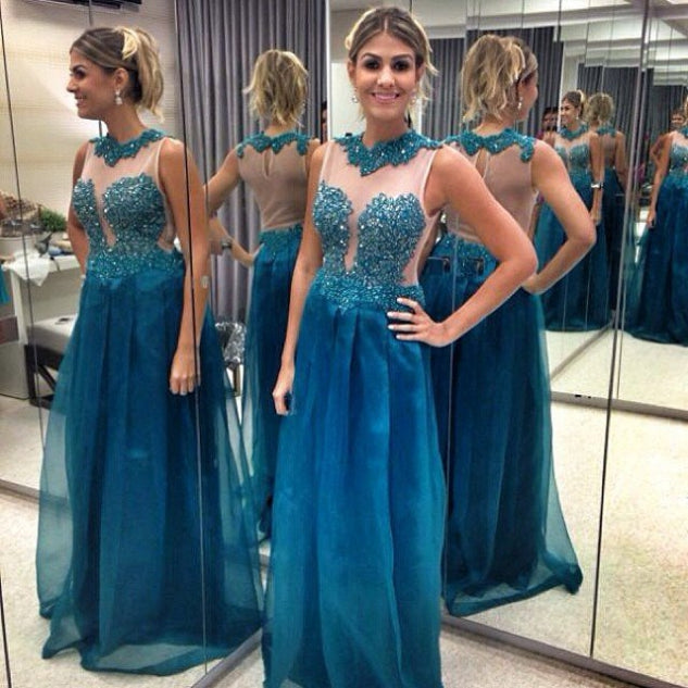 3e567c98bff Unique Sleeveless Lace Beaded Prom Dresses Backless Evening Dresses ...