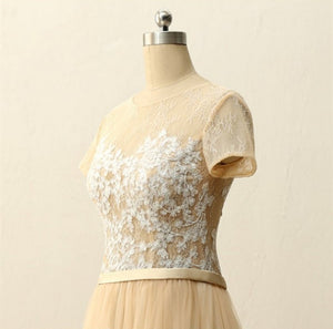 Champagne Short Sleeve A Line Prom Dresses Lace Appliques Evening Dresses