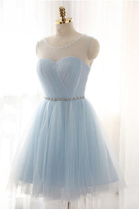 Elegant Pale Blue A-line Open Back Tulle Prom Dress Short Homecoming Dresses - EVERISA