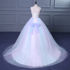 Unique Strapless Sweetheart A Line Wedding Dresses Beaded Bridal Gown