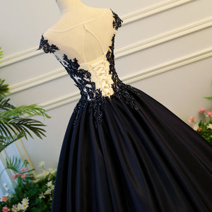 Black Scoop Neck Lace Beaded Prom Dresses Cap Sleeve Long Ball Gown
