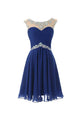 Luxury Royal Blue Scoop Neck Backless Chiffon Prom Dress Cheap Homecoming Dresses - EVERISA