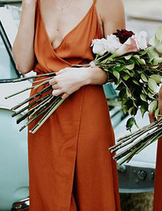 Sleeveless Burnt Orange Bridesmaid Dress Cheap Prom Dresses With Side Slit