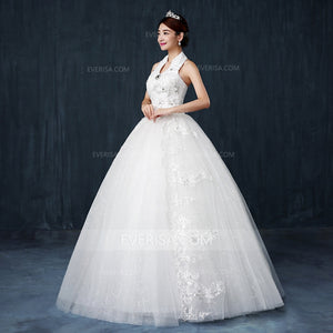 White Halter Sleeveless A Line Wedding Dresses Long Bridal Gown With Beaded - EVERISA