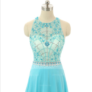 Unique Blue Halter Sleeveless Chiffon Prom Dresses Evening Dress With Pleats Ruching