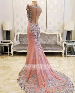 Sexy V Neck Long Prom Dresses See-through Back Lace Evening Dress - EVERISA