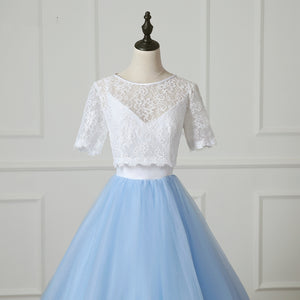 Two Pieces Short Sleeve A Line Tulle Prom Dresses Lace Evening Dresses