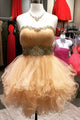 Champagne Strapless Sleeveless A Line Short Homecoming Dresses With Rhinestone