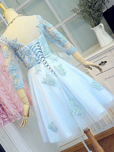 Blue Long Sleeve Lace Appliques Homecoming Dresses Short Cocktail Dresses