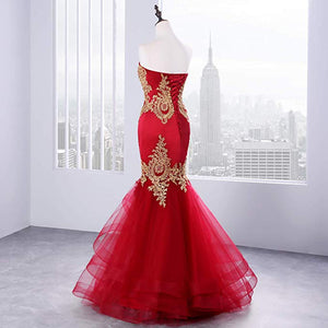 Red Strapless Sweetheart Mermaid Prom Dresses Lace Appliques Evening Dresses