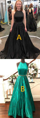 Black Sleeveless Open Back A Line Long Prom Dresses With Beading