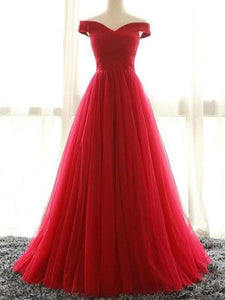 Simple Red Off Shoulder Sleeveless Prom Dresses Long Evening Dresses