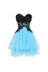 Fashion Sky Blue Sweetheart Sleeveless Organza Prom Dress Lace Homecoming Dresses