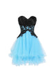 Fashion Sky Blue Sweetheart Sleeveless Organza Prom Dress Lace Homecoming Dresses - EVERISA