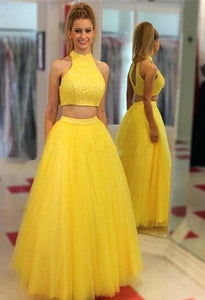 Yellow Two Pieces High Neck Long Prom Dresses Sleeveless Evening Dresses