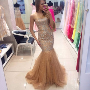 Sweetheart Lace Beaded Mermaid Prom Dresses Sleeveless Evening Dresses