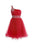 Fashion Red A-Line One Shoulder Organza Prom Dress Mini Dress With Beading - EVERISA