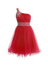 Fashion Red A-Line One Shoulder Organza Prom Dress Mini Dress With Beading