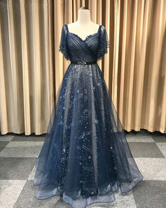 Unique Blue Short Sleeve V Neck Prom Dresses A Line Long Evening Dress