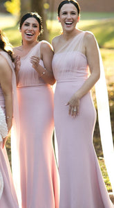 Pink One Shoulder Sleeveless Mermaid Long Bridesmaid Dresses