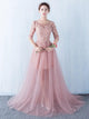 Pink Half Sleeve Lace Appliques Prom Dresses Long Evening Dresses