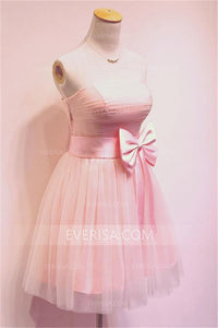 Elegant Pink Sleeveless Strapless Tulle Homecoming Dresses Inexpensive Prom Dress With Bowknot - EVERISA