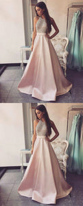 Pink High Neck Sleeveless A Line Prom Dresses Beading Evening Dresses