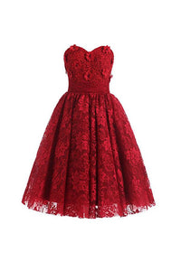 Glamorous Red Sweetheart Backless Lace Prom Dress Cheap Cocktail Dress - EVERISA