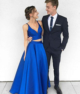 Royal Blue Two Piece Sleeveless A Line Prom Dresses Long Evening Dresses