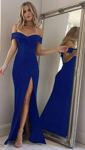 Blue Off Shoulder Sleeveless Prom Dresses Side Slit Evening Dresses