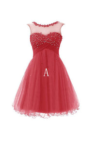 Fashion Indian Red/Blue Sleeveless Open Back Tulle Prom Dress Homecoming Dress With Appliques - EVERISA