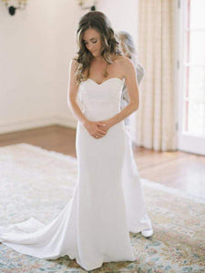 Simple Strapless Sweetheart Long Wedding Dresses Mermaid Bridal Gown