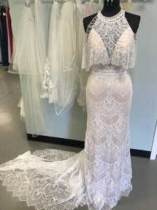 Mermaid Sleeveless Lace Wedding Dresses See Through Neckline Bridal Gown