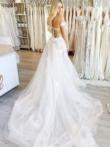 Lace Appliques Off Shoulder Wedding Dresses A Line Tulle Bridal Dresses