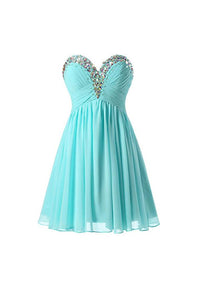 Simple Tiffany Blue Sweetheart Empire Waist Chiffon Prom Dresses Homecoming Dress - EVERISA