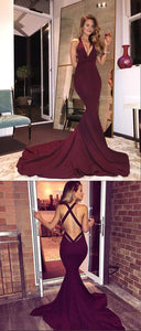 V Neck Sleeveless Cross Back Prom Dresses Mermaid Evening Dresses