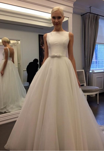 Simple White Sleeveless Backless Wedding Dresses A Line Tulle Bridal Gown