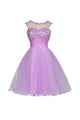 New Orchid Sleeveless Open Back Tulle Prom Dress Homecoming Dresses With Appliques Beaded