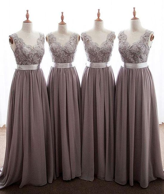 f69c4b152 New Rose Brown V-Neck Open Back Chiffon Prom Dress Cheap Bridesmaid Dresses