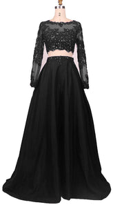 Black Two Piece Long Sleeve Prom Dresses Lace Beaded Evening Dresses