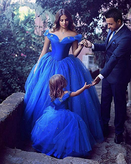 Royal Blue Off Shoulder Sleeveless A Line Long Prom Dresses With Crystals