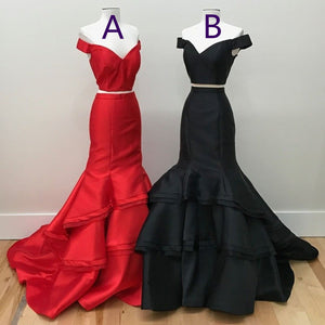 Two Piece Off Shoulder Tiered Prom Dresses Mermaid Evening Dresses