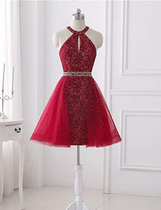 Red Halter Sleeveless Backless Lace A Line Homecoming Dresses With Crystals