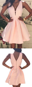 Pink V Neck Sleeveless A Line Homecoming Dresses Short Cocktail Dresses
