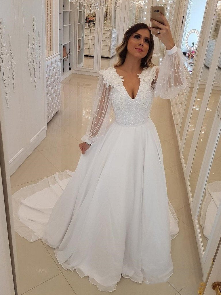 543b82e1d9a0 White V Neck Long Sleeve Beaded Wedding Dresses Chiffon Bridal Dresses