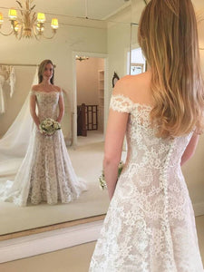 Elegant Off Shoulder Sleeveless Wedding Dresses Lace Bridal Dresses