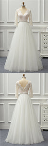 V Neck 3/4 Sleeve Lace Wedding Dresses A Line Tulle Bridal Dresses