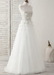 V Neck Sleeveless Beaded A Line Tulle Wedding Dresses With Appliques