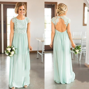 New Mini Green Scoop Neck Open Back Chiffon Prom Dress Affordable Bridesmaid Dress - EVERISA