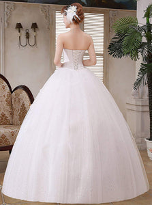 White Strapless Beaded A Line Tulle Long Wedding Dresses With Flowers
